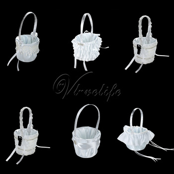 Wedding Flower Blasket Storage Basket White Lace Diamante Buckle Peals Satin Ribbon Bow for Wedding DIY Home Decor Gifts image
