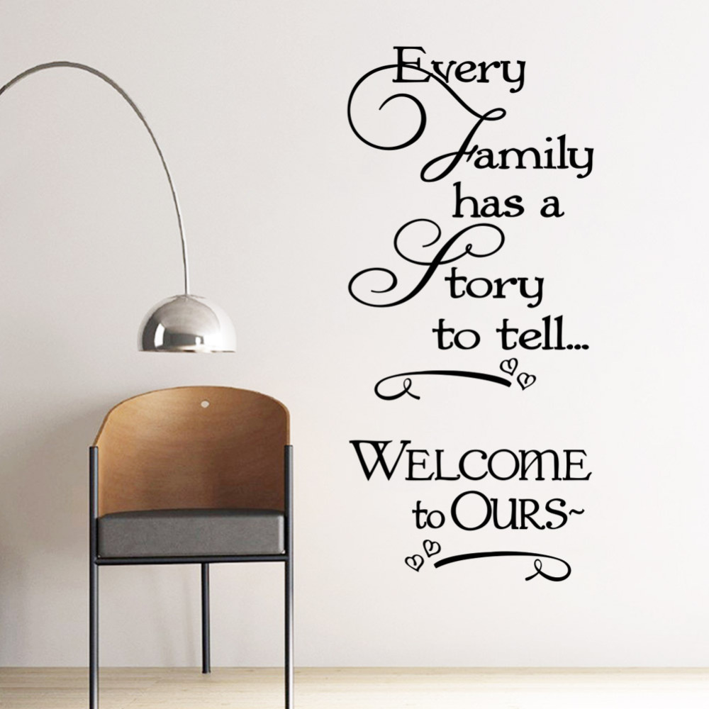 Welcome To Ours Wall Stickers Every Family Has A Story Quotes Decals Decorative Removable Heart Vinyl Home Decor Decoratrom In From