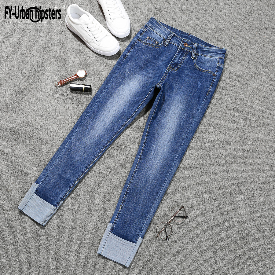Fashion women Nine pants Korean casual mid waist   jeans   blue ripped denim stretch elastic   jeans   woman plus size 5XL cuff   jeans