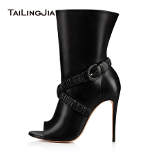 Hot Peep Toe Fashion Black Summer Ankle Boots High Heel Women Shoes Spring Shoes With Buckle Thin Heels Wholesale Free Shipping цена