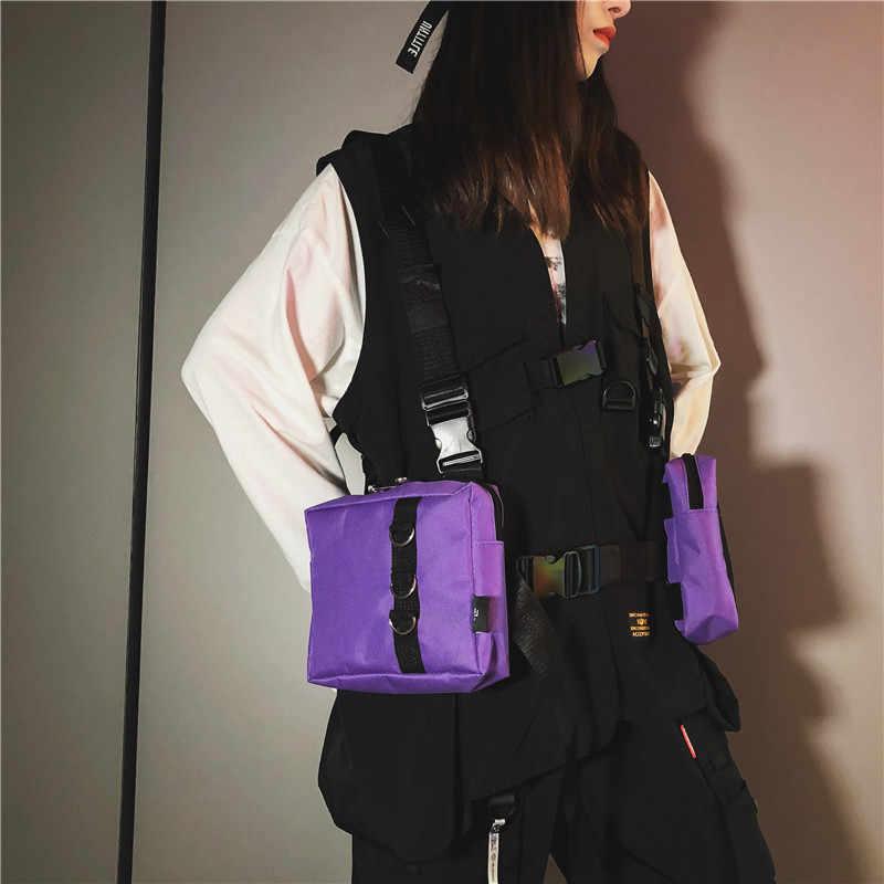 Mihaivina unisexe Oxford deux poches femmes taille Fanny Pack hommes tactique fonctionnel hip-hop Streetwear sac harnais poitrine plate-forme sac