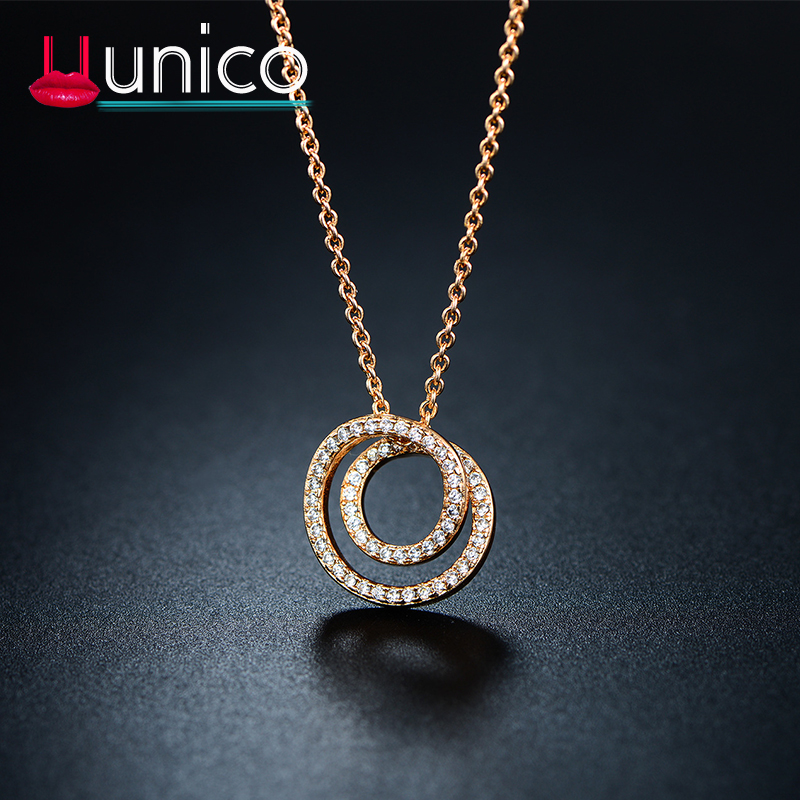 UUNICO Personality Creative Rose Goldwhite Necklace AAA Zircon Pendant Jewelry Valentine's Day  Birthday  Mom & Love Gift j8.