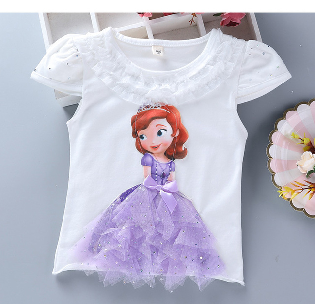 Disney Girls Summer Princess T-Shirt Elsa Childen Cotton Tees Lace T Shirt 3D Diamond Appliques Kids Birthday Party Top Clothing