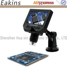 """1-600x 3.6MP USB Dijital Elektronik Mikroskop Taşınabilir 8 LED VGA Mikroskop Ile 4.3 """"HD pcb anakart tamir için OLED Ekran"""