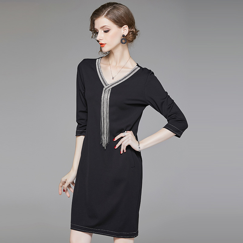 Black v neck tassel loose straight dress 2018 new three quarter sleeve women autumn mini dress in Dresses from Women 39 s Clothing