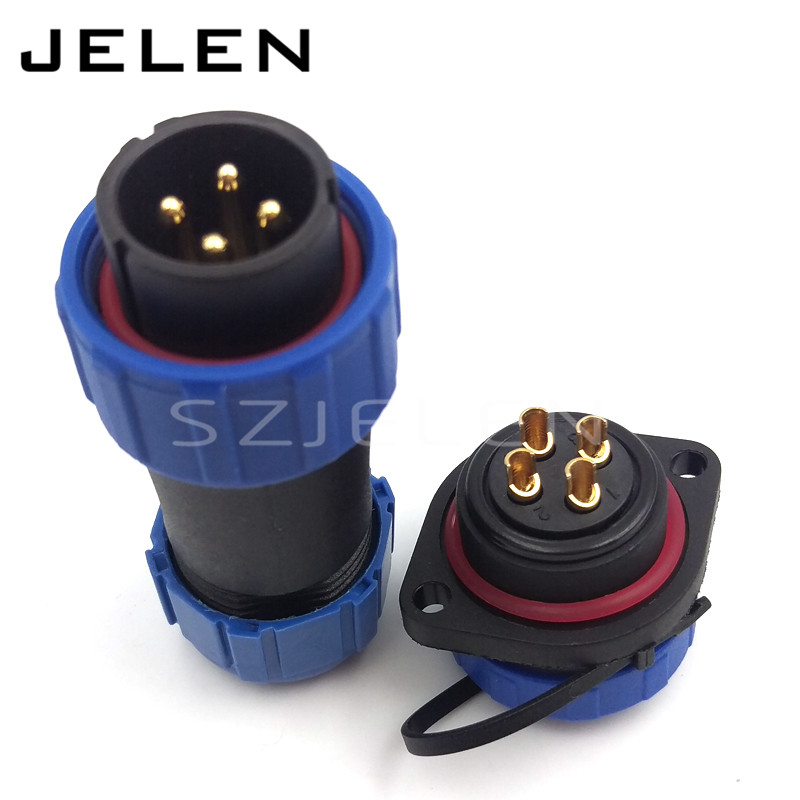 цена на SP2110, waterproof LED cable connector ip68 male and female 4 pin, Industrial Power Panel mount connector 4 pin plug and socket