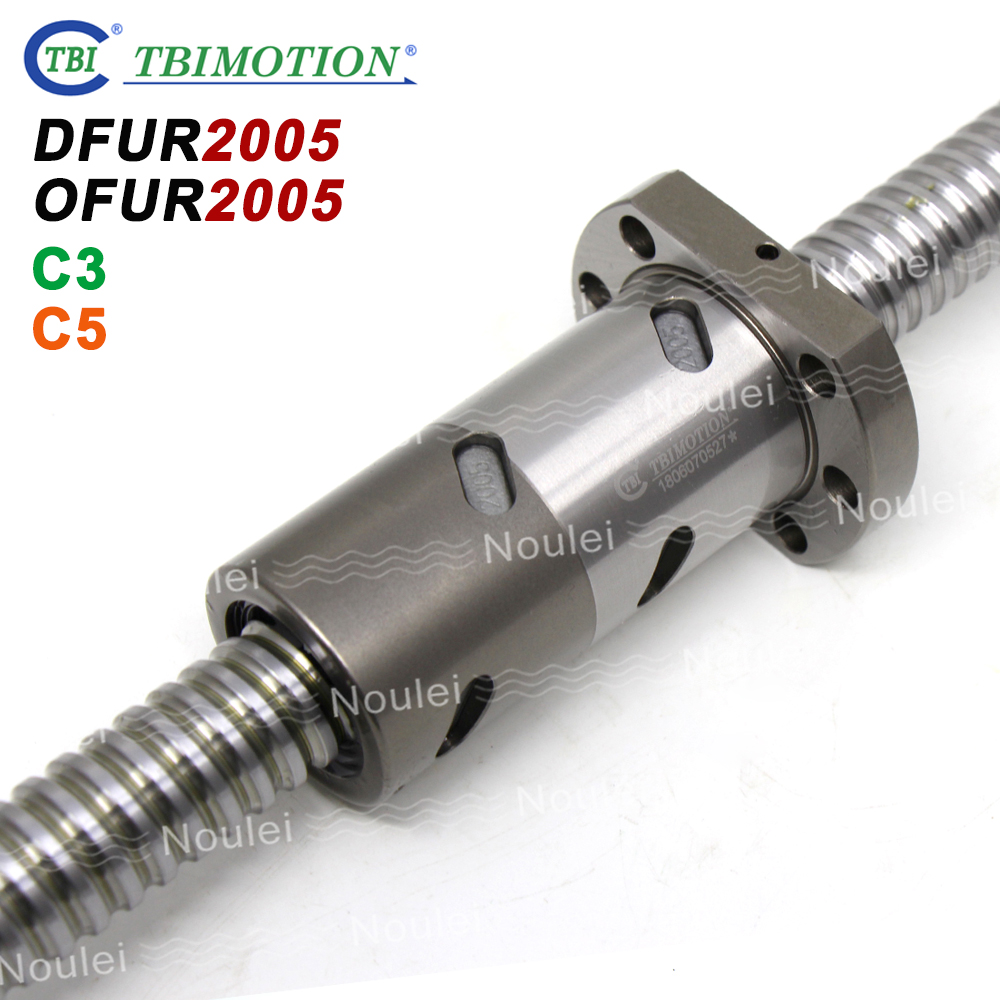 TBI C3 C5 2005 Ball screw 5mm lead with DFU2005 OFU2005 Double Ballnut CNC anti backlash