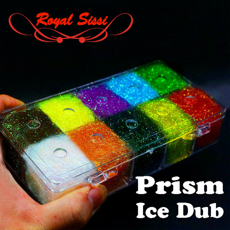 10Colors/Box Steelhead ICE DUB DUBBING DISPENSER Holographic Fiber Fly Tying Material for Nymph Wet Flies Dubbing Prism Ice Wing 5sheets pack 10cm x 5cm holographic adhesive film fly tying laser rainbow materials sticker film flash tape for fly lure fishing