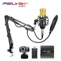 FELYBY Professional condenser microphone BM 800 audio studio recording mic 48v phantom power Usb sound card webcam video chat