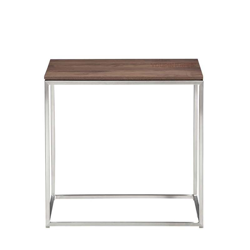Stainless Steel And Wood Coffee Table: Quartet Walnut Wood Skin Side Zhuojiao Stainless Steel