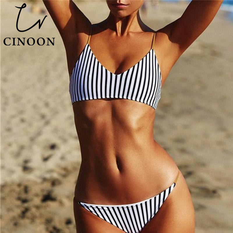 CINOON Bikini 2018 Sexy Swimsuit Women Halter Bandage Swimwear Female Thong Bikini Set Push Up Bathing Suit Beach Suit with Pad