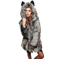 Winter Fashion Women Coats Elegant Solid Faux Fur Warm Lady Coat Slim Long Sleeve Outwear Coat With Hooded