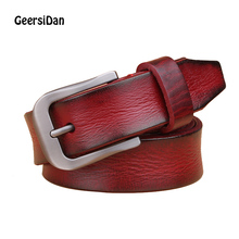 GEERSIDAN 2018 Hot Fashion Women Belts genuine Leather Metal Pin Buckle Waist Belt Waistband 105cm-115cm for women Top quality