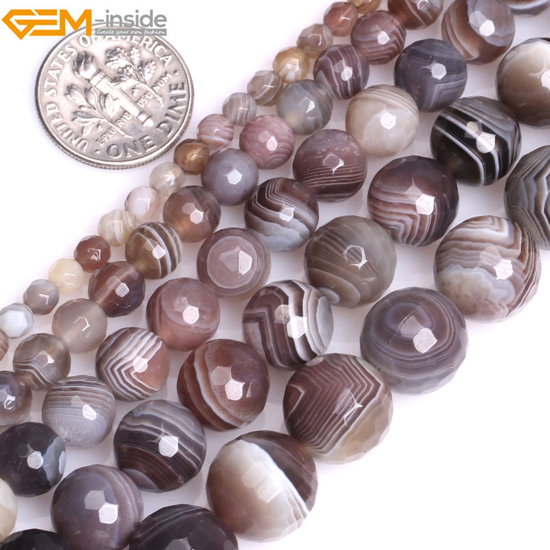 Natural Round Faceted Botswana Agates Beads For Jewelry Making 4-12mm 15inches DIY Jewellery FreeShipping Wholesale Gem-inside