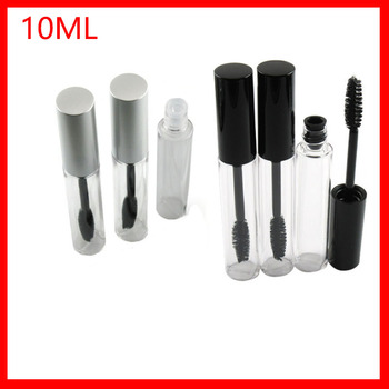Travel Small 10m Black/silver Cap Plastic  Empty Mascara Tubes w Eyelash Wand Brush Eyelash Cream Container Bottle Vials 200pcs