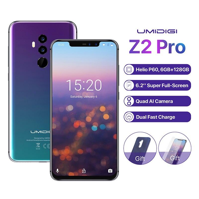 UMIDIGI Z2 Pro 6,2 полный экран смартфон Android 8,1 6 ГБ + 128 GB Helio P60 16MP Quad линзы 4G LTE NFC Беспроводной зарядки мобильного телефона