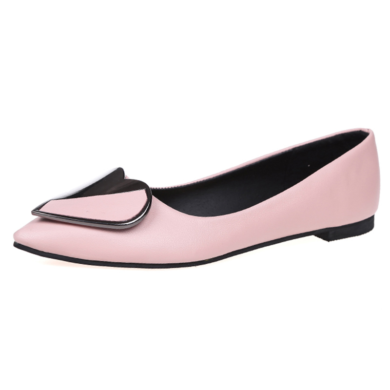 2018 New Drop Shipping Women Ballerina Flats Slip on Heart Oxfords Women Loafers Shoes Casual Ladies Flats Shoes Pointed Toe women ballerina flats shallow slip on ballet shoes pointed toe flats woman metal heart shape rubber leather black ladies shoes