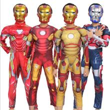 Iron Man Mark 42 / Patriot Muscle Children Kids Halloween Costume Fantasia Avengers Superhero Cosplay with Mask