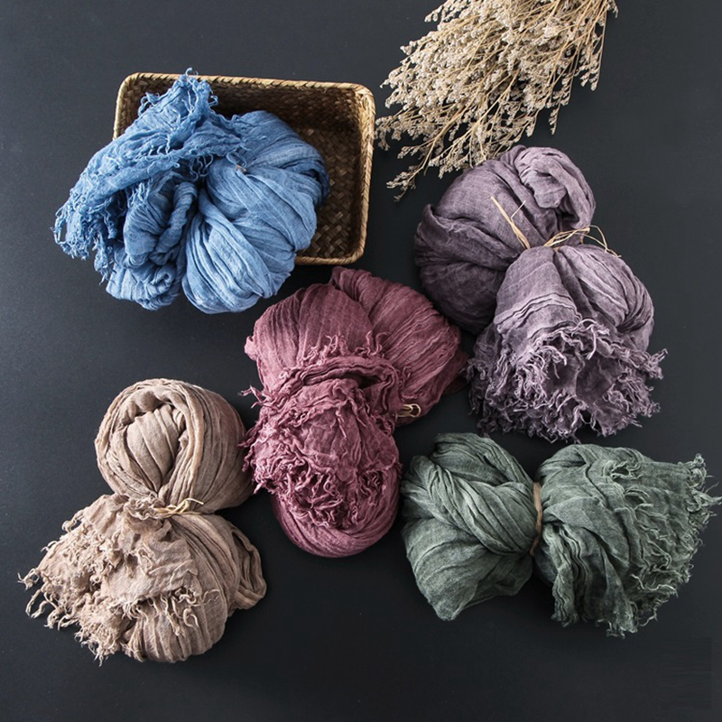 Winter Scarf Linen Echarpe Desigua Foulard Scarf & Shawl 8 Colors Soft Linen Scarf 180cm Flax Texture Vintage Scarf