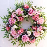 Garden Rose Artificial Hanging Flower Wreath Home Decor Walls Centerpieces High quality greenery wreath Hot Sale