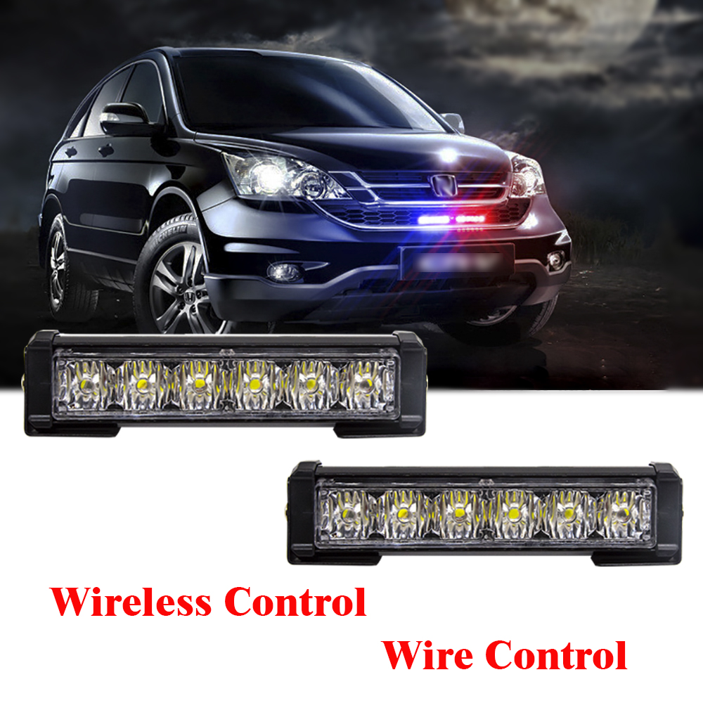 High Brightness 2X 6 LED Red/Blue Yellow Car Police Strobe Flash Light Emergency Warning 12 Flashing Fog Lights Car Styling