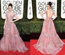 2017 A-Line 74th Gold Abendkleider mit Halsausschnitt Appliques Kurzen Ärmeln Illusion Zurück Celebrity Kleider