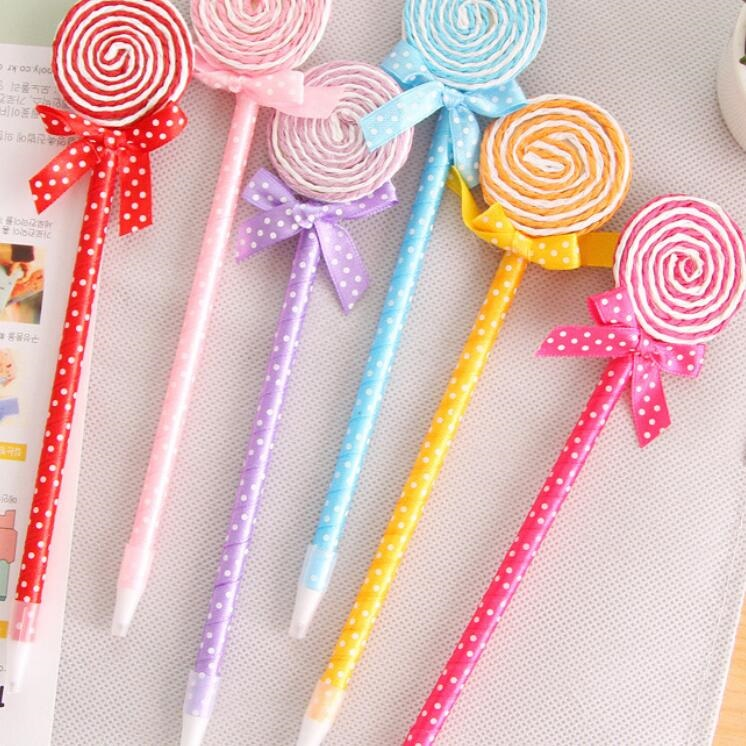 36PCS/lot New Novelty Lollipop pens office and study Cartoon pens Colorful ballpoint pen Fashion Gifts Wholesale