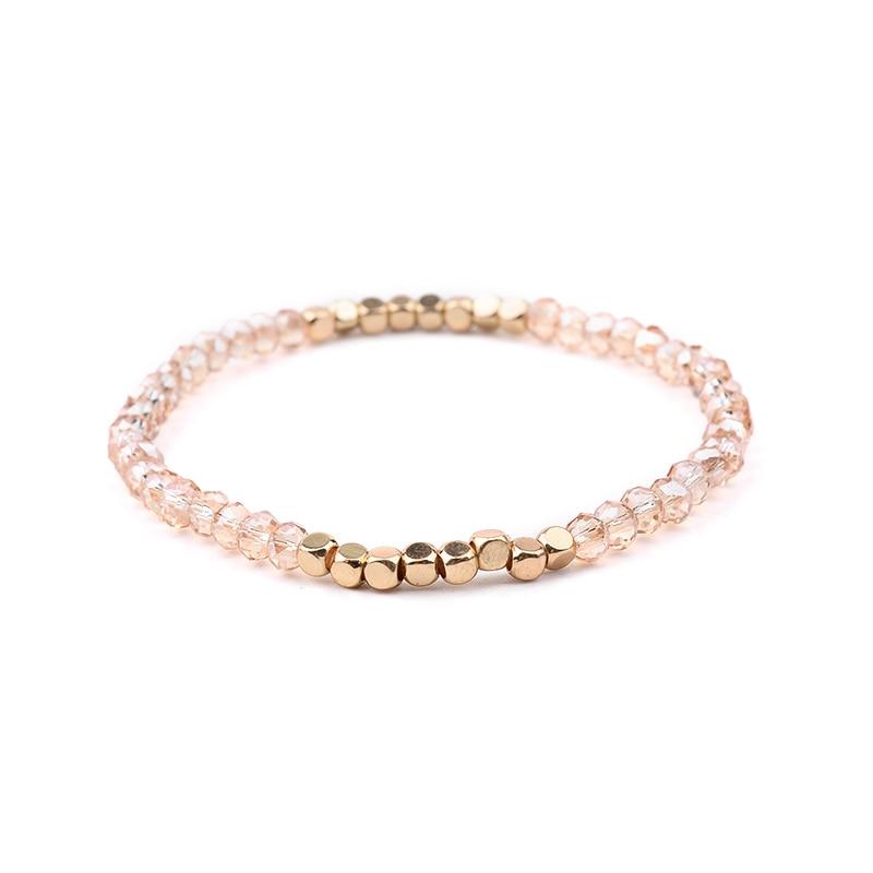 BOJIU многоцветные Кристальные браслеты для женщин золотые акриловые медные бусины розовый белый черный серый женский браслет с кристаллами BC226 - Окраска металла: 1-Light Yellow