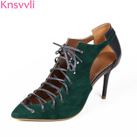 Knsvvli emerald green mixed color kid suede women pumps sheepskin patchwork cross tied poited toe sexy high heel women shoes