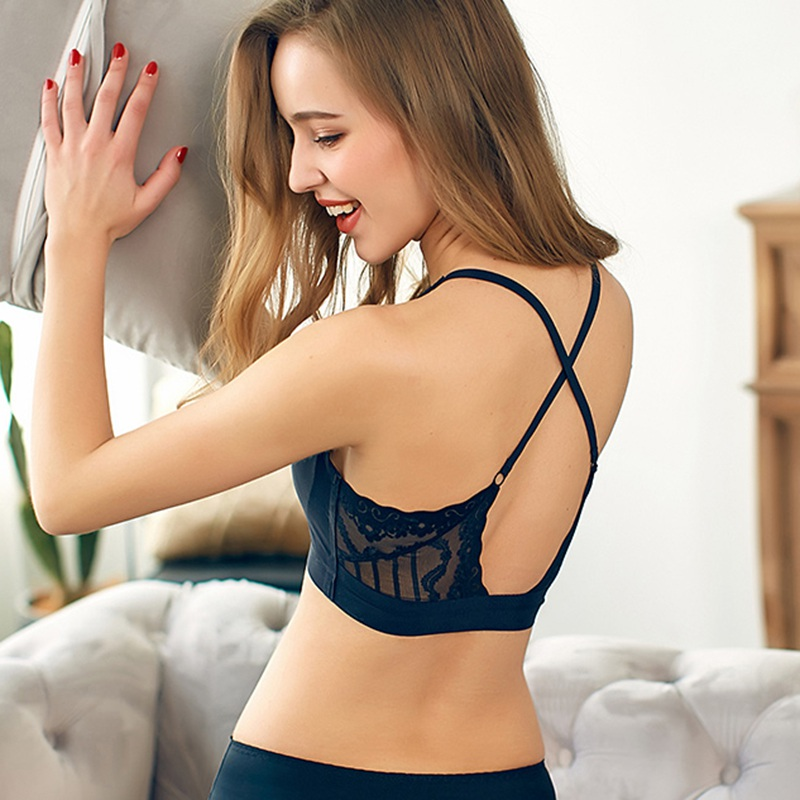 <font><b>Sexy</b></font> Hollow Backless <font><b>Bras</b></font> <font><b>for</b></font> <font><b>Women</b></font> <font><b>Plus</b></font> <font><b>Size</b></font> Seamless Padded <font><b>Bra</b></font> Wire Free Black White <font><b>Lace</b></font> Bralette Underwear <font><b>Women</b></font> Top image