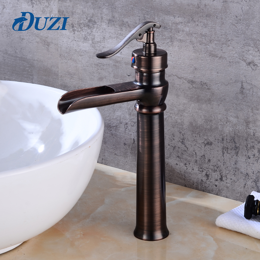 DUZI Waterfall Water Mixer Deck Mounted Basin Mixer Tap Deck Mount Cold And Hot Brass Antique Torneira Bathroom Sink Faucets цена