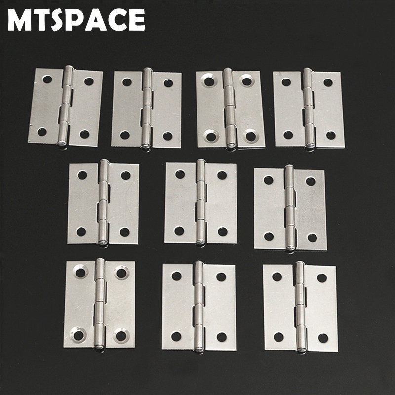 MTSPACE Durable 10pcs Set Stainless Steel Butt Hinges for Cabinet Drawer Door 1 5 Inch Length