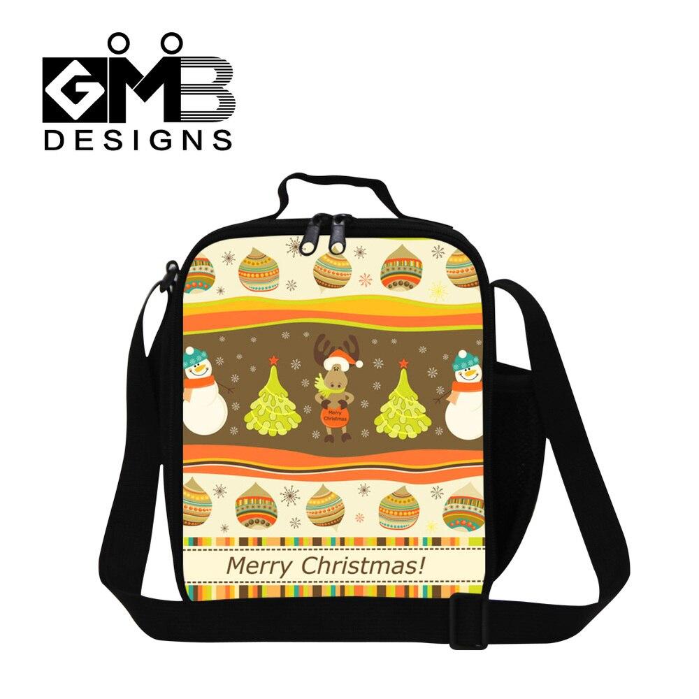 Санта печать детская сумка для обеда термо Крышка для еды сумка Детская сумка для пикника еда переноски хранения пикника Tote Bolsa Feminina - Цвет: Коричневый
