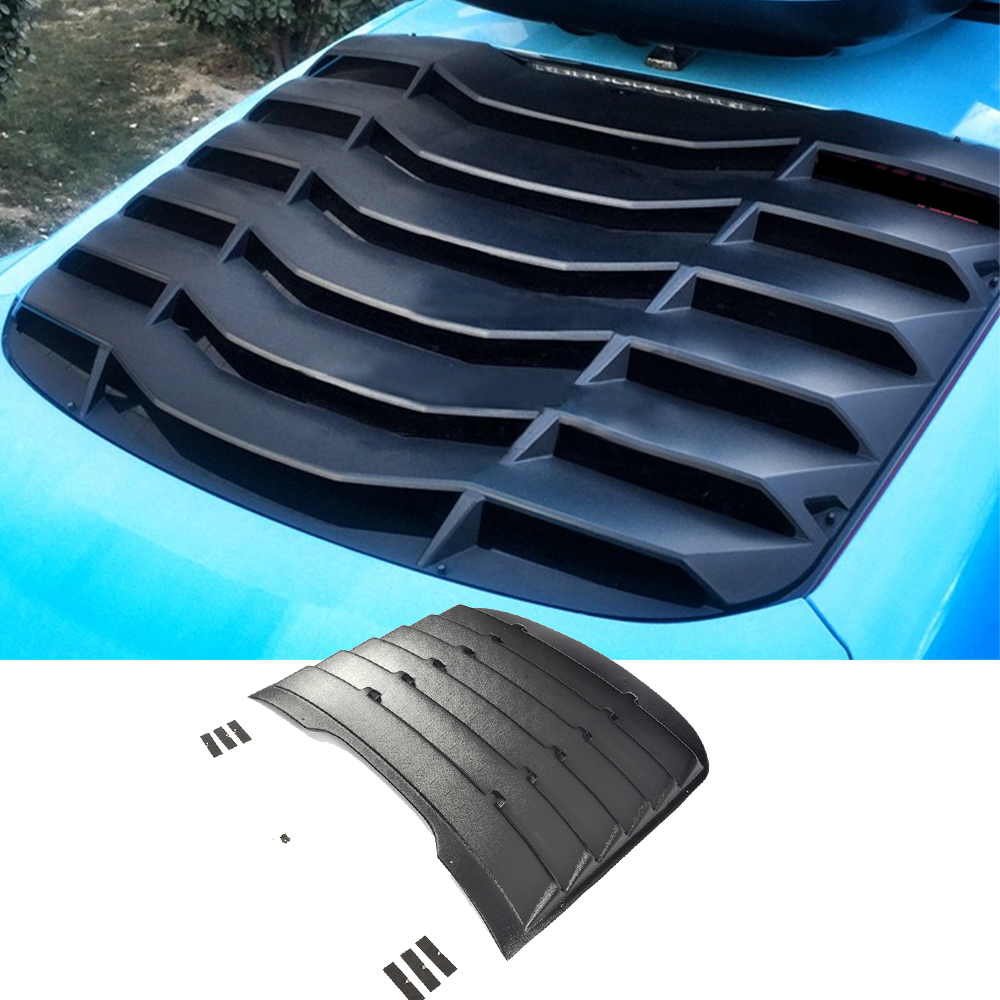 PP Plastic Rear Window Louver Air Vent Black Sun Shade Visor Cover For Ford Mustang Coupe 2015 2016