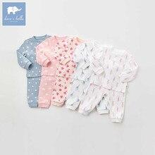 Db9613 dave bella outono conjuntos de roupas para bebê crianças unisex terno manga longa conjunto pijama do bebê