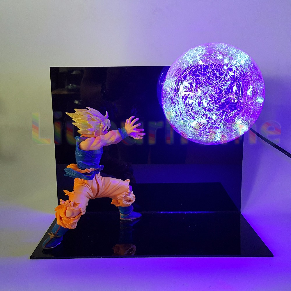 Dragon Ball Z Luminaria Night Light Blue Led Bulb Table Lamp Anime Dragon Ball Z Son Goku Desk Light Lampara Led For Christmas indoor brief solid oak wood textile desk lamp fabrics lampshade table light bedroom bedside warm lampara night light luminaria