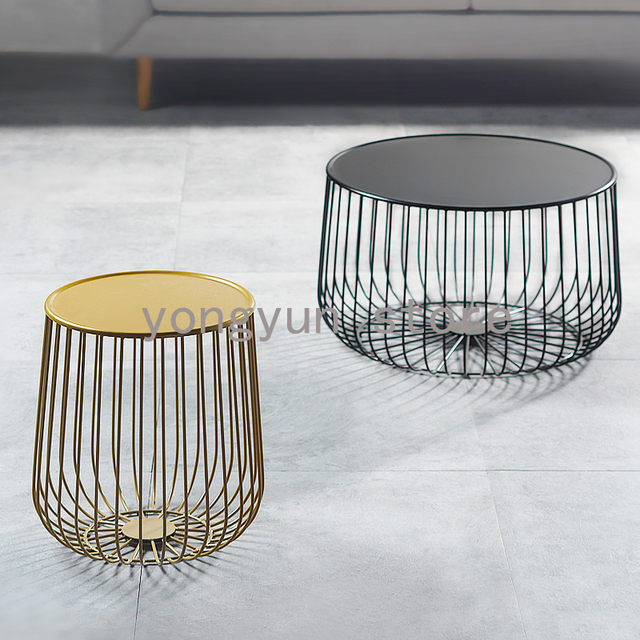Home Furniture Minimalist Modern Design Pumpkin Black And Gold Metal Round  Tea Table Living Room Furniture Side Coffee Table