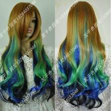 Wig New Long curly blue brown green multi-colour lolita wig(China)
