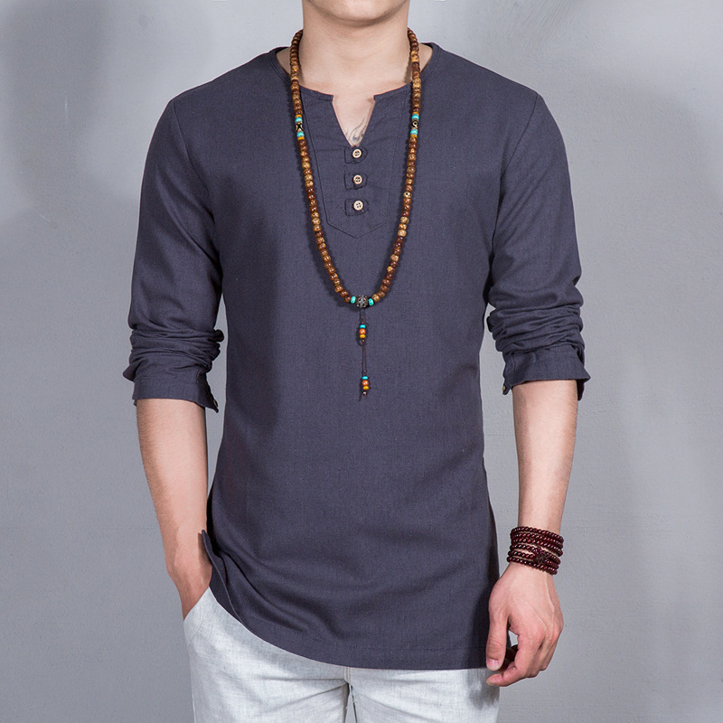 Men's Pullover Loose Linen Shirt Full Sleeves Casual Collarless ...