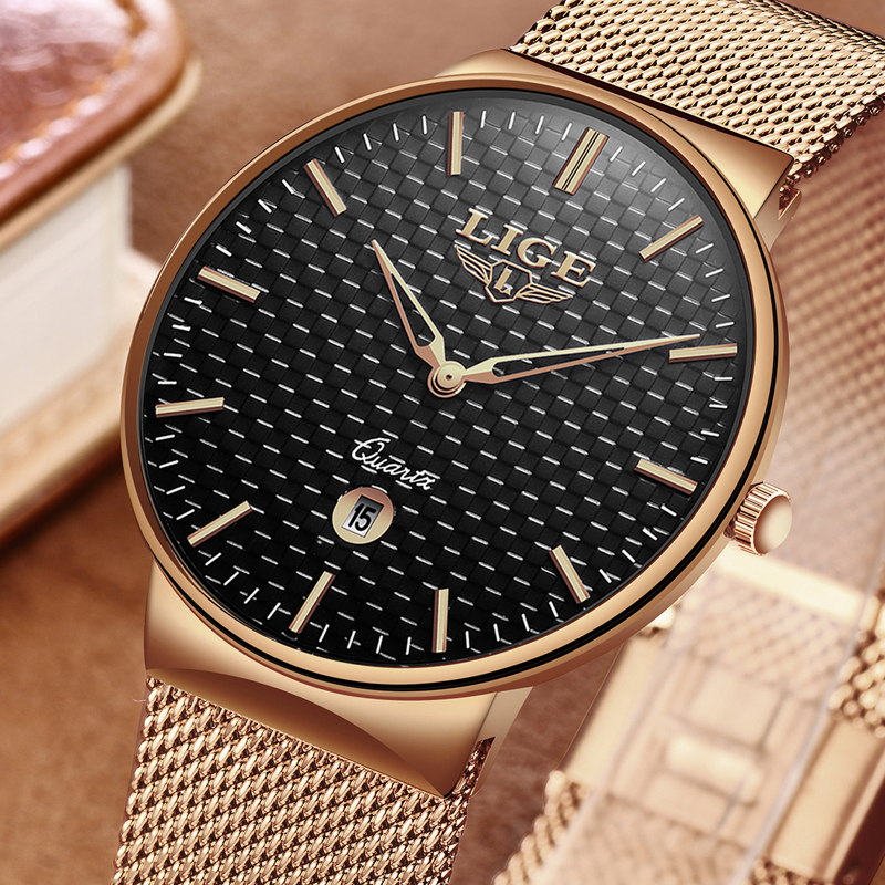 LIGE New Men Watches Top Luxury Brand All Steel Slim Quartz Black Watch Men Casual Fashion Waterproof Clock Relogio masculino men watch top luxury brand lige men s mechanical watches business fashion casual waterproof stainless steel military male clock