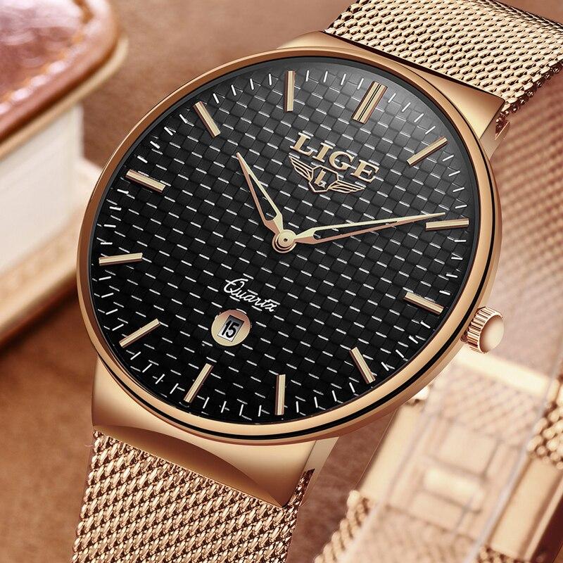 LIGE Nouveau Hommes Montres Top Marque De Luxe Tout En Acier Mince Quartz Noir Montre Hommes Casual Mode Étanche Horloge Relogio masculino