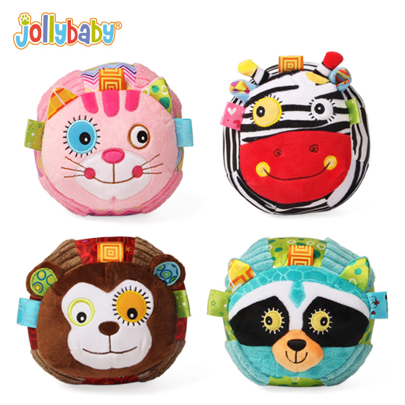 Jollybaby plišaste polnjene otroške žogice Izobraževalne igrače mehke živalske klopoteče udobno učenje za otroke dojenčke 0-12 mesecev darilo