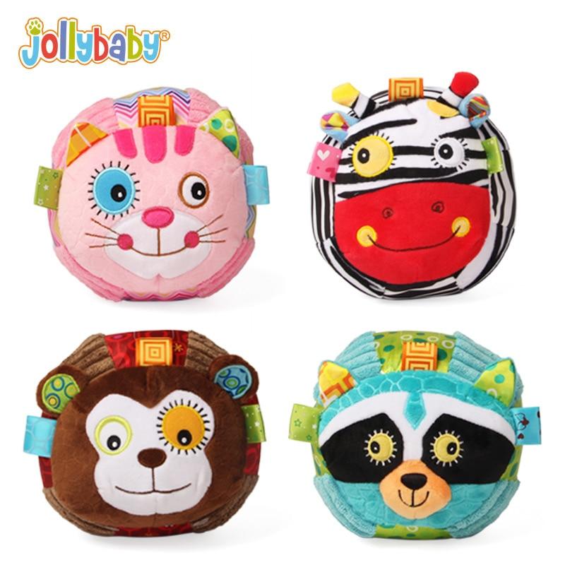 Jollybaby Λούτρινα Γεμιστά Παιδικά Μπάλες Εκπαιδευτικά Παιχνίδια Μαλακό κουδουνάκι Κουδουνίστρα Άνεση Μάθησης για Παιδιά Μωρό 0-12 Μήνες Δώρο
