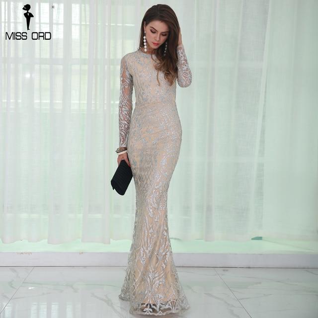 Missord 2017 пикантные с круглым вырезом и длинными рукавами узор блеск платье макси FT8520