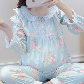 Nursing Maternity Pajamas 2019 Summer New Print Long-Sleeved Breastfeeding Sleepwear Ladies Home Service Set Pregnant Women A330