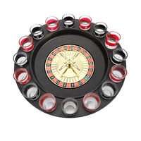 Popular Shot Glass Roulette Set Novelty Drinking Game Set With 16 Glasses For Home Bar Party