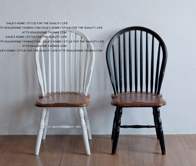 High Quality American Country To Do The Old French Country Style Antique Chair Foreign  Trade Black / White