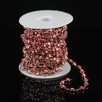 Red lampwork di vetro coin in rilievo catena di forniture, rosario placcato argento spostato legare di collegamento flat round monili del braccialetto calde branelli