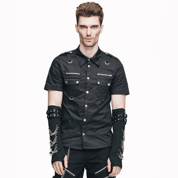 Devil Fashion Gothic Punk Single Breasted Short Sleeves Men Blouses Top Steampunk Rock Male Cotton Casual Shirts Front Pockets