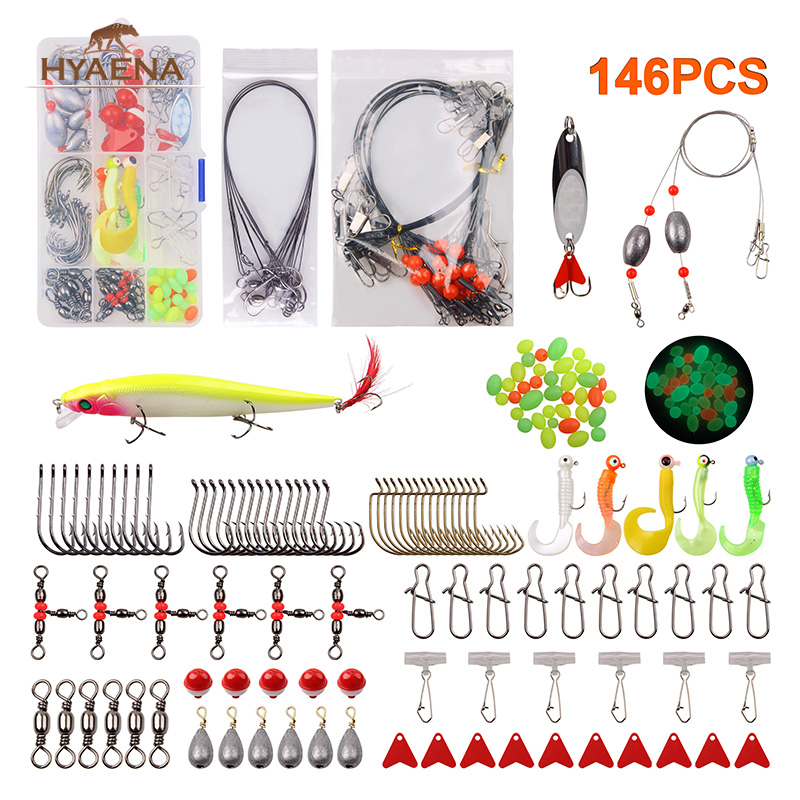 Hyaena 146pcs/Box Fishing Tackle Set For Carp Lead Wire Rigs Sinker Weight Snaps Spoon Lures Hook Accessories Tackle Kit